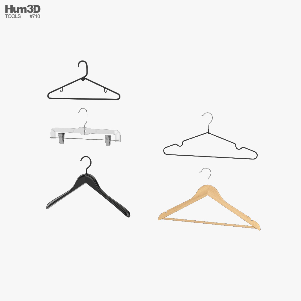 Clothes Hangers Set 3D model