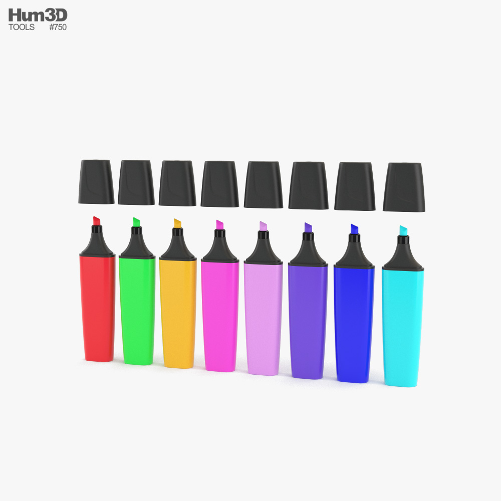 Highlighter Markers 3D model