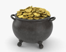 Pot with Gold Coins 3D model