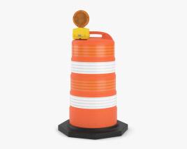 Traffic Road Barrel with Warning Light 3D model
