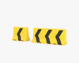 Concrete Barrier yellow-black Arrows 3D model