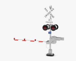 Train Track Crossing Gate 3D model