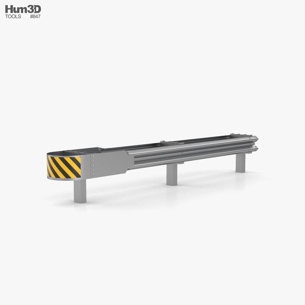 W-Beam Guardrail Barrier Double Sides Ending 3D model