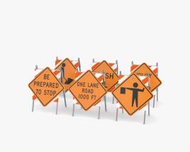 Roadwork Signs Set 3D model
