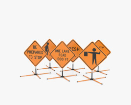 Roadwork Signs on Dynalite Stand 3D model