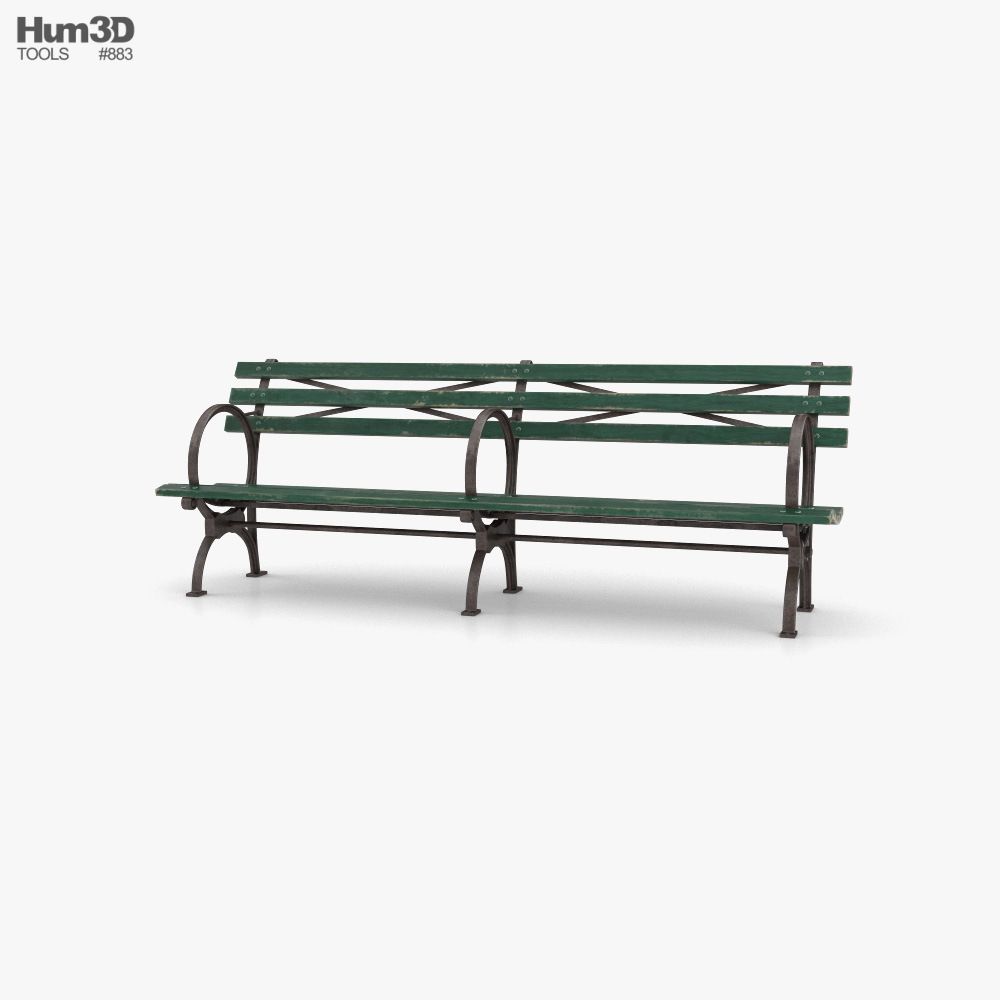Long Green bench 3D model