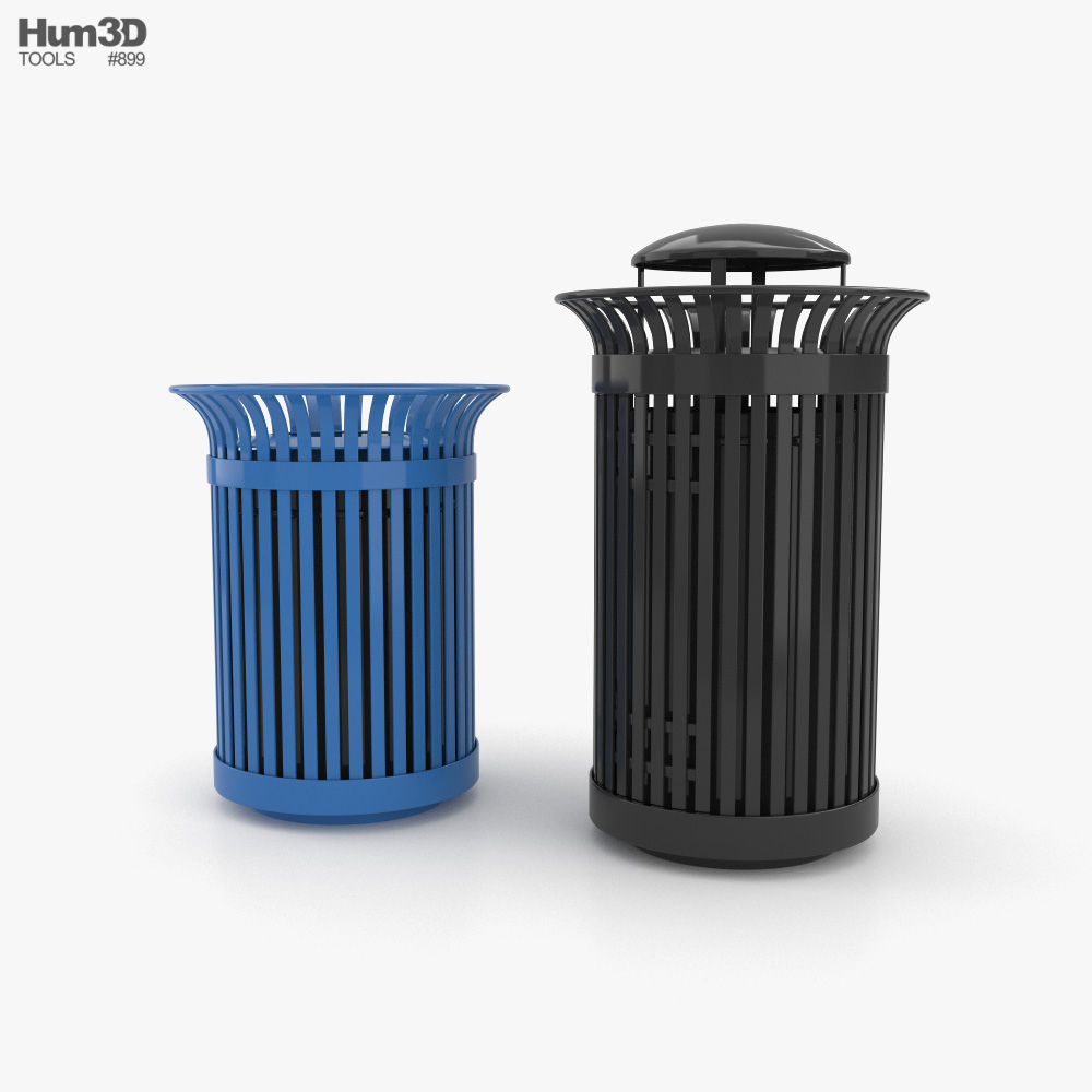 Public Trash Can NYC Style 3D model
