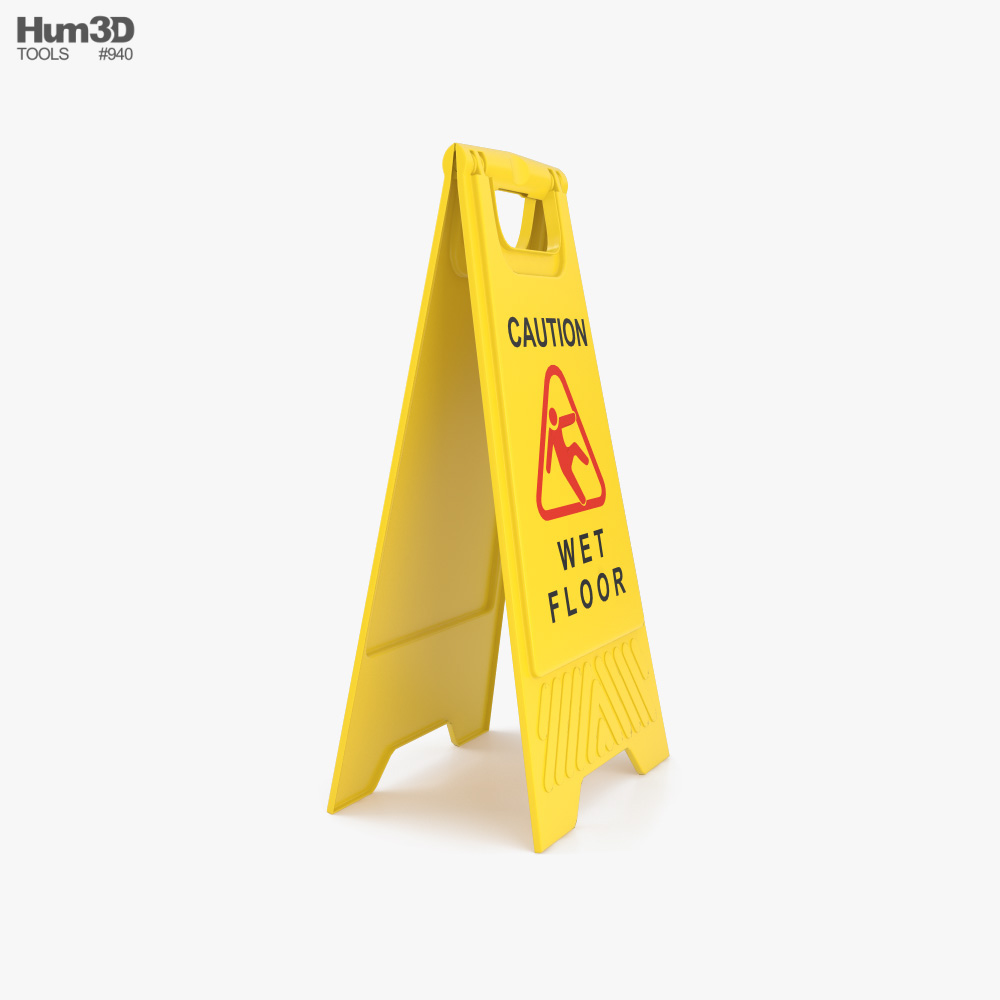 Wet Floor Sign 3d model