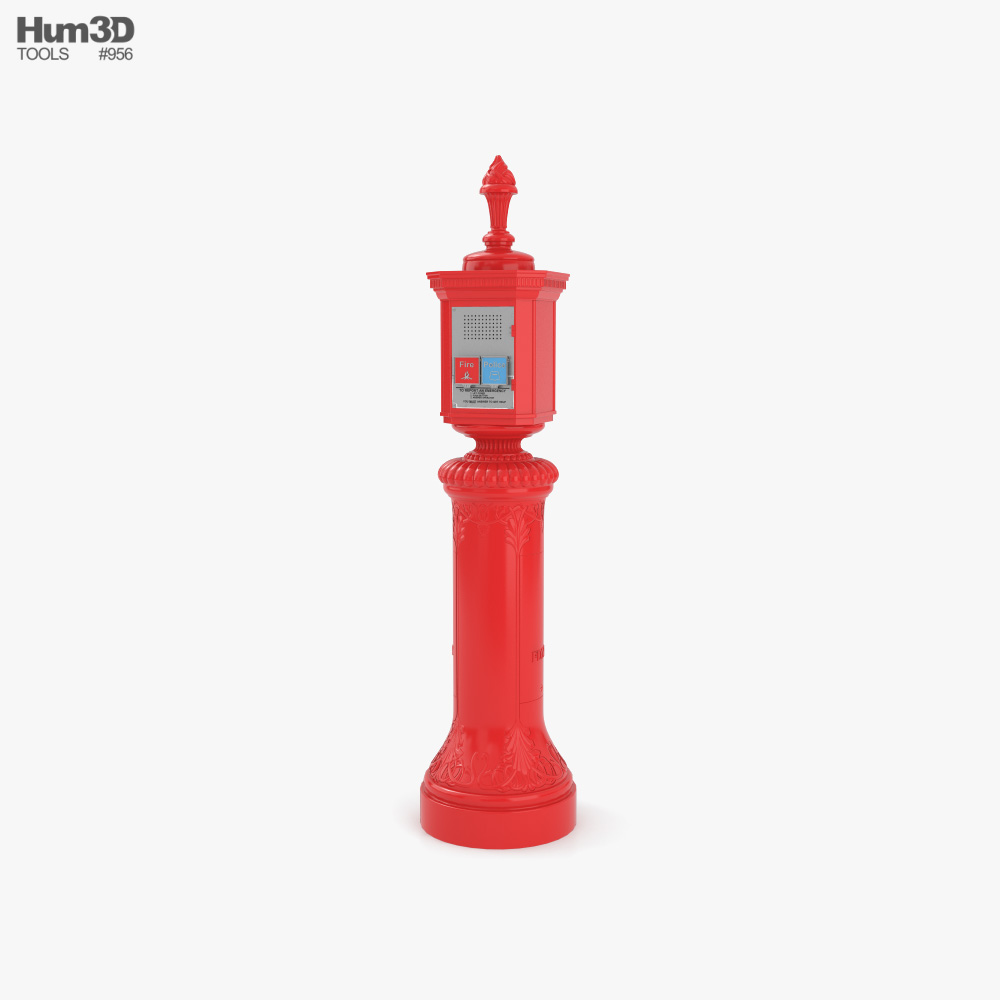 New York Fire and Police Call Box Old Style 3D model