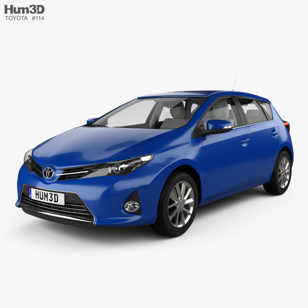 3D model of Toyota Auris hatchback 5-door with HQ interior 2013