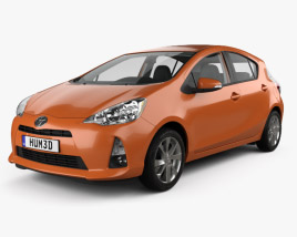 3D model of Toyota Prius C with HQ interior 2012