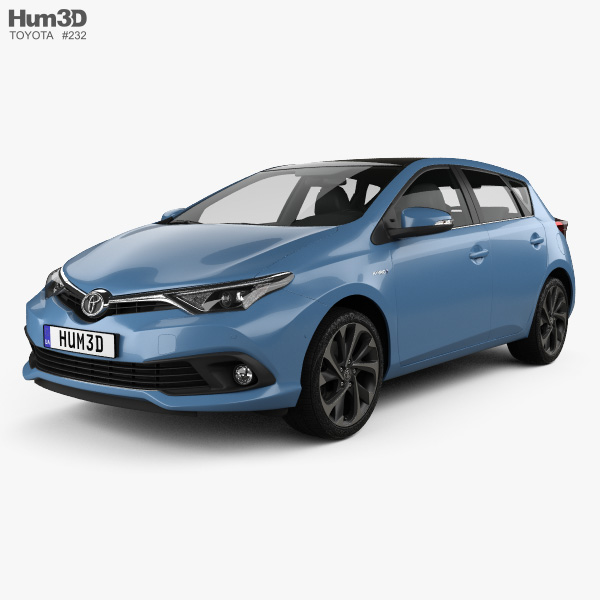 3D model of Toyota Auris hatchback Hybrid 2015