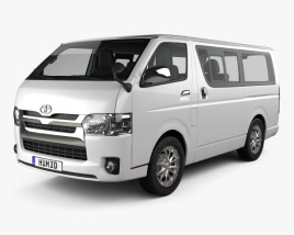 3D model of Toyota Hiace LWB Combi with HQ interior 2013