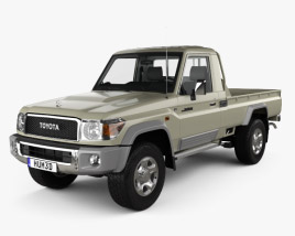 3D model of Toyota Land Cruiser Single Cab Pickup with HQ interior 2007