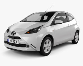 3D model of Toyota Aygo x-clusiv 3-door with HQ interior 2014