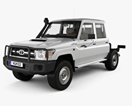3D model of Toyota Land Cruiser (VDJ79R) Double Cab Chassis with HQ interior 2012