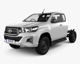 3D model of Toyota Hilux Extra Cab Chassis SR 2019