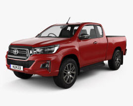 3D model of Toyota Hilux Extra Cab Raider 2019