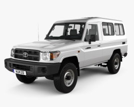 3D model of Toyota Land Cruiser (J78) Wagon with HQ interior 2010