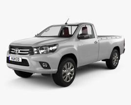 3D model of Toyota Hilux Single Cab GLX with HQ interior 2015