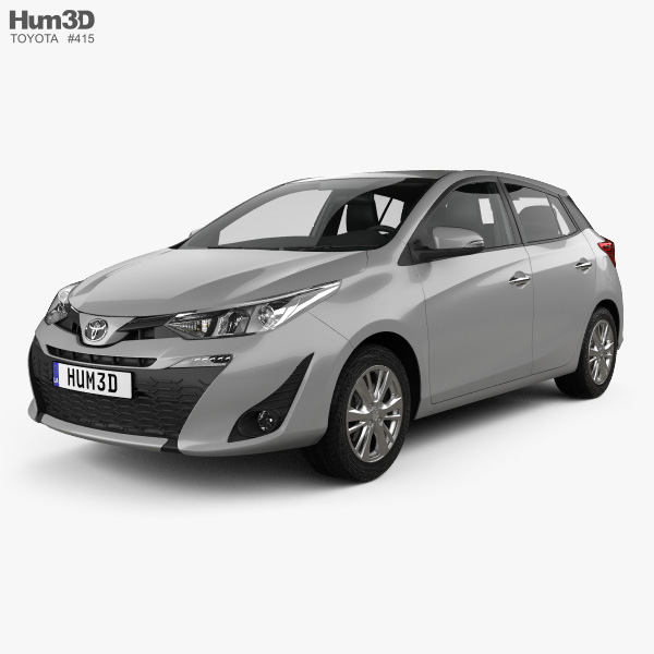 Toyota Yaris hatchback with HQ interior 2018 3D model