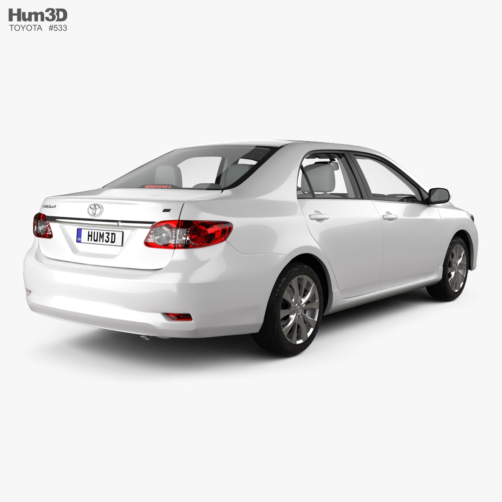 Toyota Corolla LE with HQ interior 2011 3d model back view