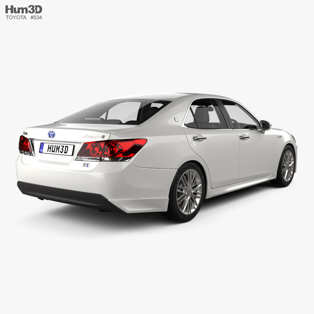 Toyota Crown Hybrid Athlete with HQ interior 2013 3d model back view