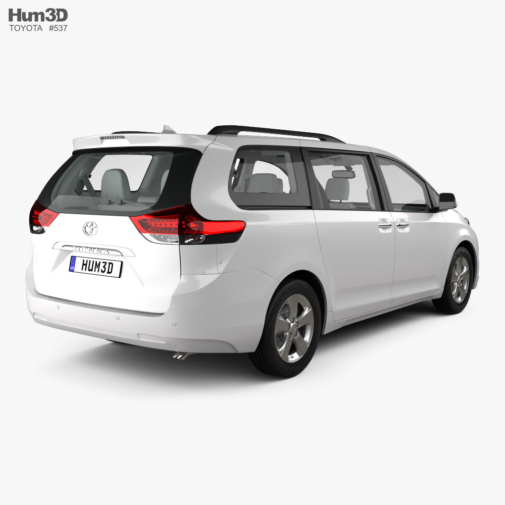 Toyota Sienna with HQ interior 2011 3d model back view