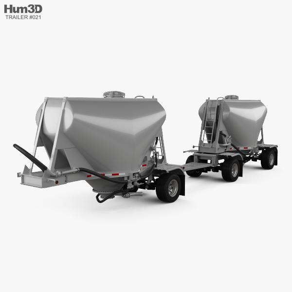 3D model of Beall 550 Dry Bulk Double Trailer 2016