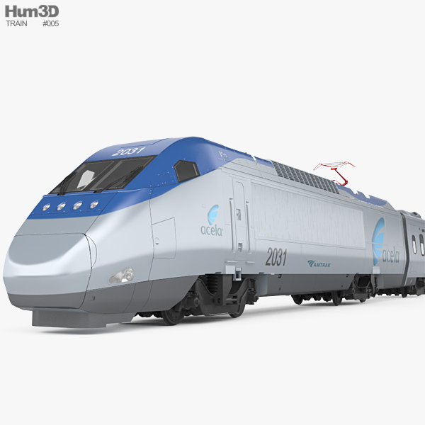 3D model of Amtrak Acela Express