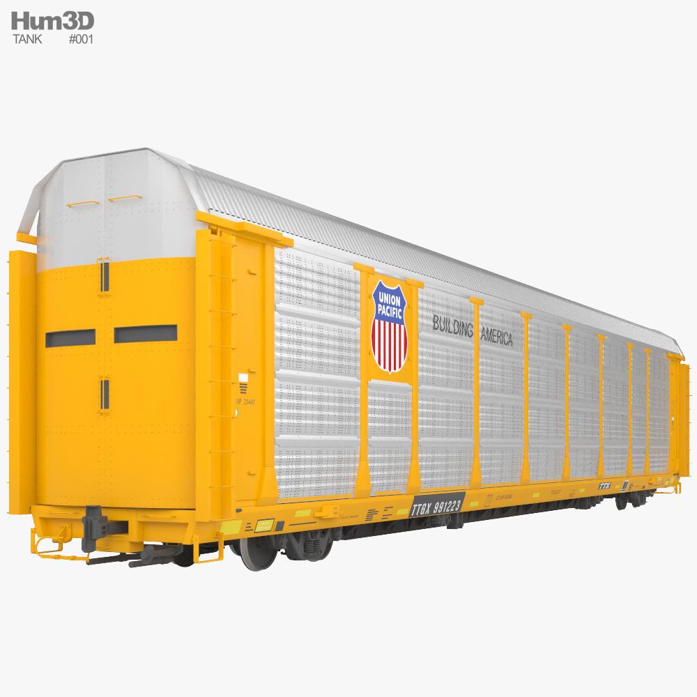 Railroad autorack wagon 3D model