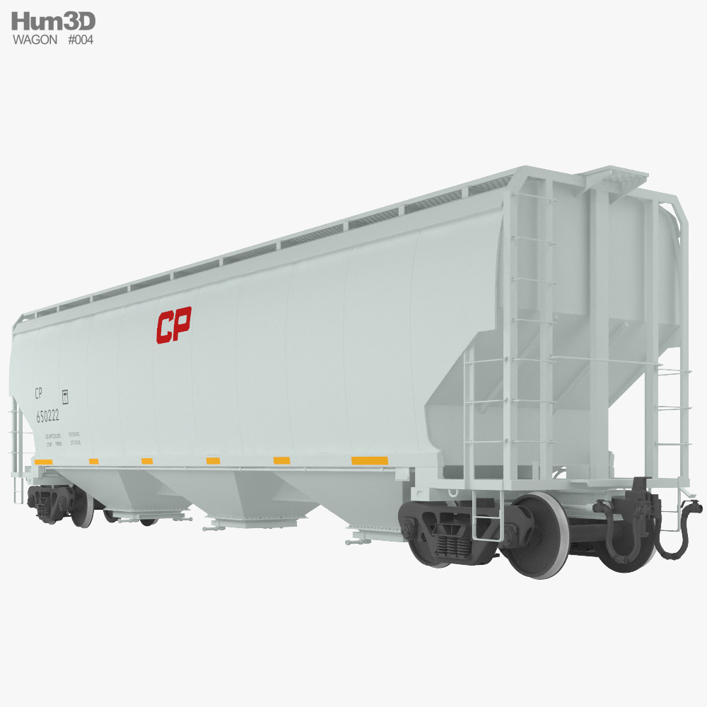 Railroad covered hopper wagon 3d model