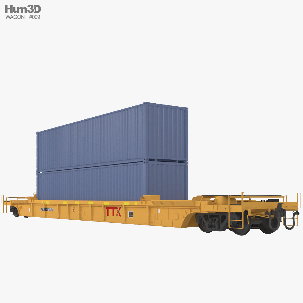 Railroad double-stack wagon 3d model