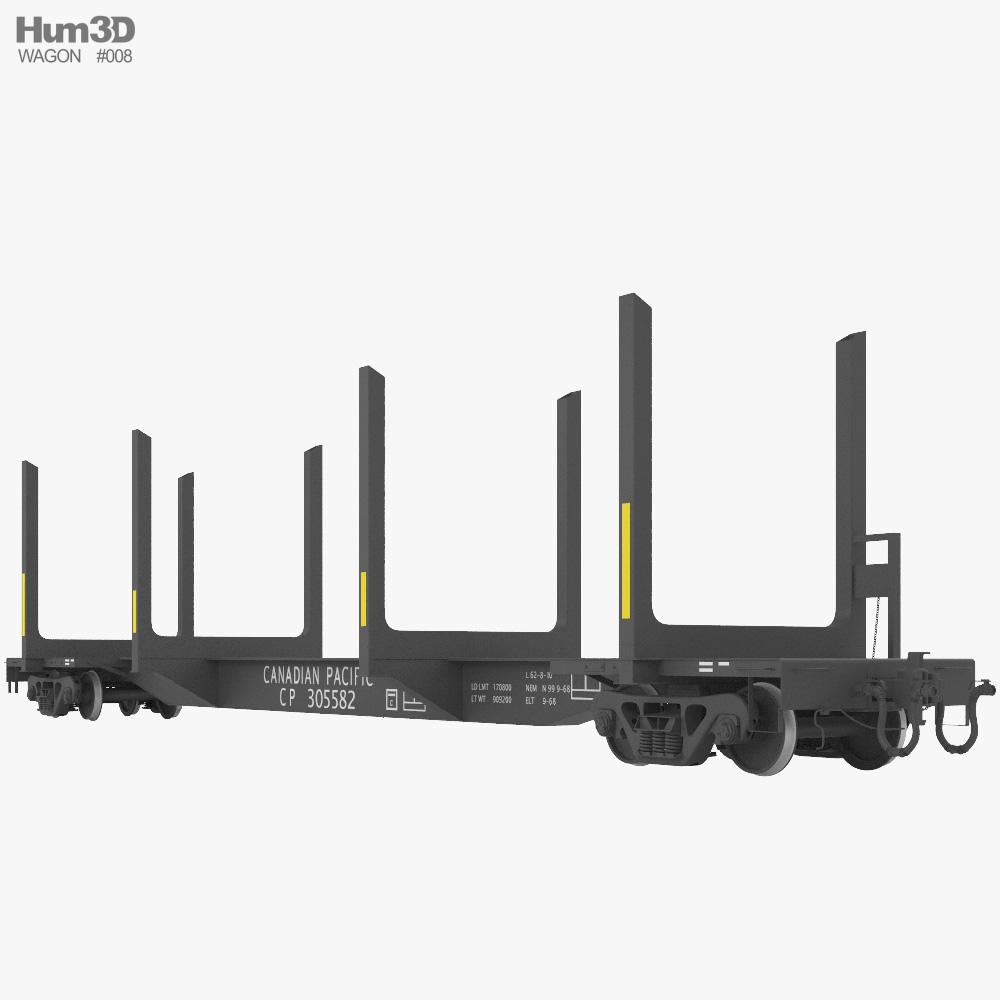 Railroad flat wagon 3d model