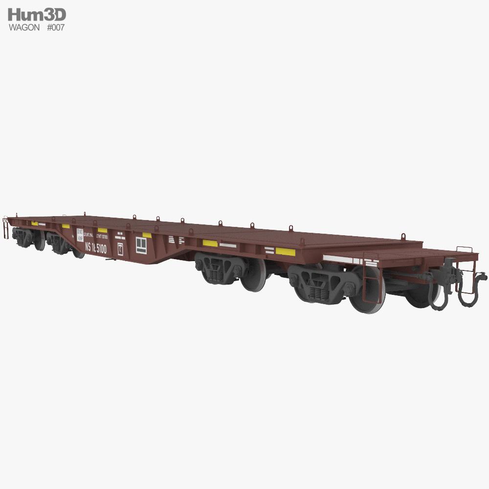 Railroad heavy duty flat wagon 3d model