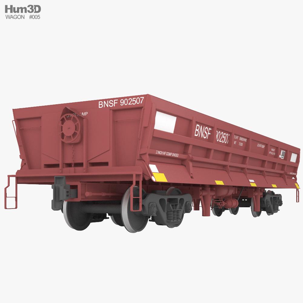 Railroad side dump wagon 3d model