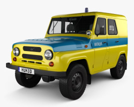 3D model of UAZ 469 USSR Militia 1973