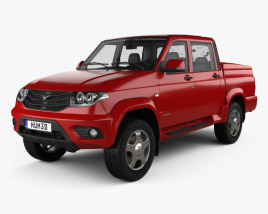 3D model of UAZ Patriot (23632) Pickup with HQ interior 2014