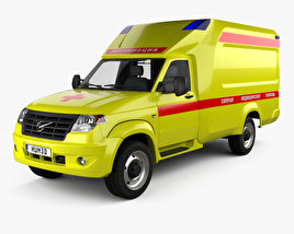 3D model of UAZ Profi Ambulance 2017