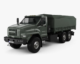 3D model of Ural Next Flatbed Canopy Truck 2016