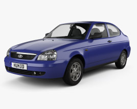 3D model of Lada Priora 21728 coupe 2012