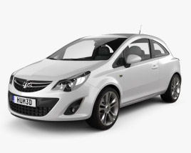 3D model of Vauxhall Corsa 3-door 2011
