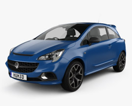 3D model of Vauxhall Corsa (E) VXR 3-door hatchback 2015