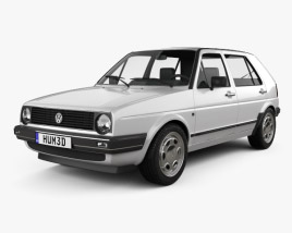 3D model of Volkswagen Golf Mk2 5-door 1983