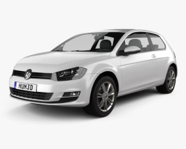 3D model of Volkswagen Golf Mk7 3-door 2013