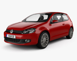 3D model of Volkswagen Golf 3-door 2009