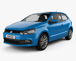 3D model of Volkswagen Polo 3-door 2014