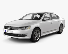 3D model of Volkswagen Passat (B7) with HQ interior 2011