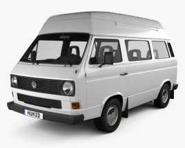 3D model of Volkswagen Transporter (T3) Passenger Van High Roof 1980