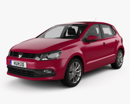 3D model of Volkswagen Polo 5-door with HQ interior 2014